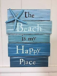 house decor diy Blue Starfish The Beach Is My Happy Place Wooden Beach House Decor Sign