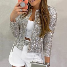Nine Points Sleeve Straight Sequins Standard Women's Jacket Fashion girls, party dresses long dress for short Women, casual summer outfit ideas, party dresses Fashion Trends, Latest Fashion # Sequin Coats, Glitter Jacket, Cool Outfits, Casual Outfits, Looks Chic, Looks Style, Jackets For Women, Clothes For Women, Cheap Clothes