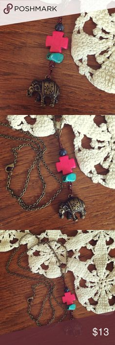 Handmade Bohemian Hippie Elephant Long Necklace Handmade/handcrafted by me! Made with stone and gemstone beads, including real turquoise, and a bronze elephant charm. On a long chain. Perfect hippie, boho, festival style necklace! Never worn! Jewelry Necklaces