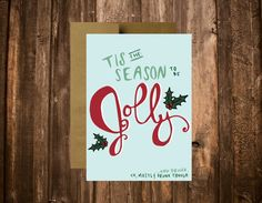 Funny Christmas Card // 10 5x7 Printed Cards // by blacklabstudio