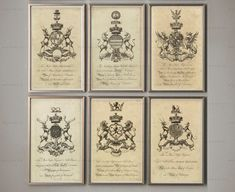 COAT OF ARMS Prints Set of 6 Crests English Shields by MonarchCo