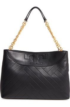 TORY BURCH Quilted Slouchy Leather Tote. #toryburch #bags #leather #hand bags #tote #