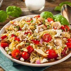 Get Orzo Salad Recipe from Food Network Food Network Recipes, Cooking Recipes, Healthy Recipes, Orzo Salad Recipes, How To Cook Orzo, Chicken Orzo, Olive Recipes, Feta Salad, Rice Salad