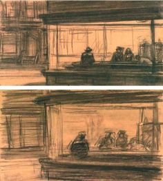 Studies for Nighthawks: 1942 by Edward Hopper (Whitney Museum of American Art, NYC) - American Realism (Viewed as part of the Exhibit - Hopper Drawings at the Whitney American Realism, American Artists, Art Sketches, Art Drawings, Edward Hopper Paintings, Statues, Artist Sketchbook, Whitney Museum, Art History