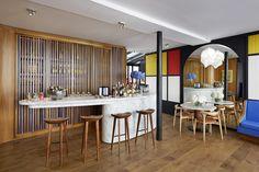New Rooms with Mondrian-inspired Colour at Hôtel du Ministère, Paris Mondrian, Commercial Interior Design, Commercial Interiors, Pub Design, Wallpaper Magazine, Das Hotel, Hotel Interiors, New Room, De Stijl