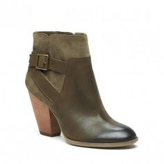 Olive green leather & suede bootie with a stacked heel and a cool side buckle