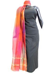 Maheshwari Dupatta&Set Cotton Kurta- Black&Rust