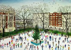 """""""Ice Skaters"""" by Emma Haworth, 2013 (watercolour on paper)"""