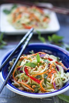 Asian Zucchini Cumber Noodle Salad makes an EASY, light, tasty HeALTHY, gluten-free dish that is flavorful, gorgeous & perfect as a side dish or main meal.