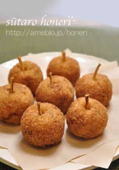 apple korokke 可愛い♥りんごのコロッケ (potato, apple, ground pork)