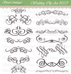 14 Vintage Calligraphy Clip Art Clipart DIY by MSweetboutique