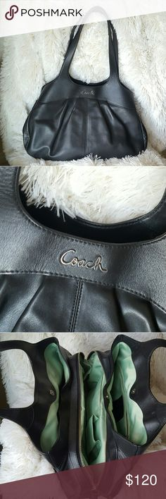Coach black hobo leather purse handbag Soft black leather in great used condition a sea foam green satin lining easy to see everything in your purse! Three convenient compartments with a middle zip to stay organized some pen marks and stains on the inside as pictured from regular wear. Like new on the outside! Handle drop is 9 inches 16 inches across 10.5 inches tall Coach Bags Shoulder Bags