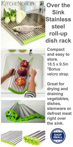 Roll up Dish Drying Rack Saves Space by drying/draining dishes, fruits & vegetables and defrost meats right over the sink. When not in use, dish rack can be rolled up and stored in a drawer or under the sink.