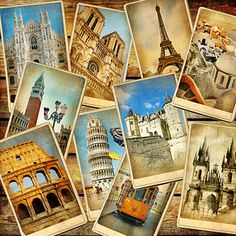 Global Collage Wallpaper Wall Decor Travel Blankets Vintage Collage Postcard