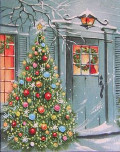 Vintage Christmas card with aqua blue front door, wreath, & sparkly tree decorated in red, pink, & yellow ornaments