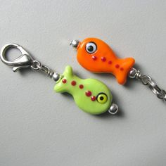 Cat Collar Charms / Tags (2) accessories Handmade Lampwork Glass Fish Beads