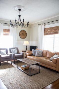 Modern Living Room with Sven Sofa, camel sofa www.brightgreendoor.com