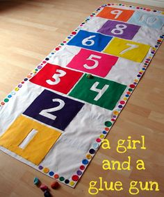 indoor fabric hopscotch mat -- felt, glue gun ~also tic tac toe & target toss on the back; carrying bag for it all