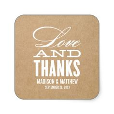 LOVE AND THANKS   WEDDING FAVOR LABELS STICKER
