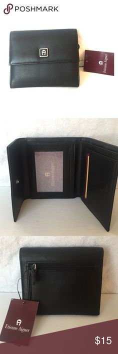 Etienne Aigner black wallet NWT Black fold up wallet with coin zipper in the back Etienne Aigner Bags Wallets
