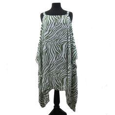 Bali Queen Batik Caftan Zebra Print Cover Up Loungewear Tunic Dress Green Top | eBay