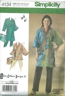 An unused original ca. 2006 Simplicity Pattern 4134.  Everybody Kimono in two lengths and bag.