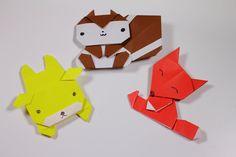 簡単折り紙 赤キツネ