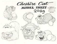 Vintage Disney Alice in Wonderland: Animation Model Sheet 650-96 - Cheshire Cat