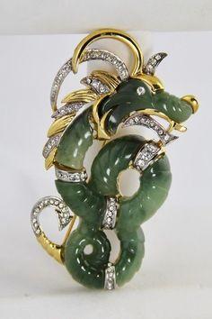 Vintage Hattie Carnegie RARE FX Jade Unsigned Dragon Sea Serpent Lucite Brooch   eBay