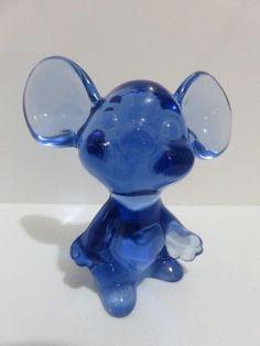 Fenton Glass Blue Mouse with Raised Fenton Logo  #Fenton