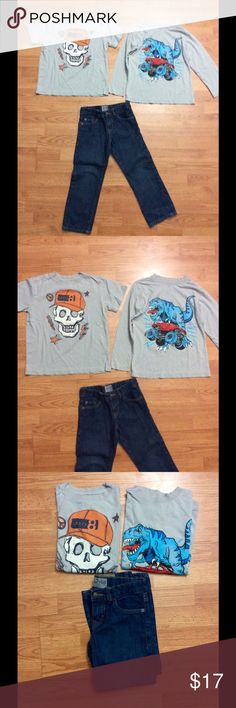 Lot of boys clothes size 5/6 The jeans are from children's place. They are in great condition and they have an adjustable waist. And the two shirts are both a grayish color one long sleeve one short sleeve very light signs of wear.  Still have a lot of life in them! I normally ship the same day or day after! Children's Place Shirts & Tops Tees - Long Sleeve