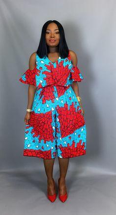African print off shoulder culottesAfrican clothingAfrican African Print Dresses, African Fashion Dresses, African Attire, African Wear, African Women, African Dress, African American Fashion, African Print Fashion, Africa Fashion