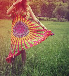 Hot Pink Hippie Dress, Red Long, Bohemian, Tapestry, Sundress, Halter Dress, Scarf Dress, Fairy Dress. $38.00, via Etsy.