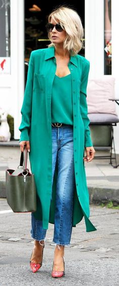 green obsession/ coat + top + bag + red heels + jeans