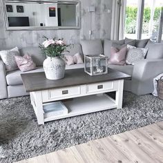 New Living Room Grey Blush Coffee Tables Ideas Pink Living Room, Modern Home Interior Design, Interior Design Living Room, Gray Living Room Design, Living Room Decor Cozy, Living Design, Apartment Living, Apartment Living Room, Modern Grey Living Room