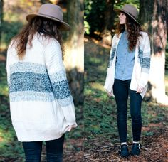 Tobi Opposites Attract Cardigan, Urban Outfitters Panama Hat, Madewell High Rise Pants, Shellys London Boots