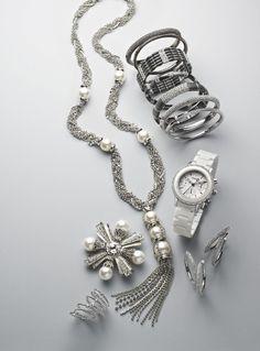 Givenchy Tasseled Necklace, Nardi Hinge Bangles, Cara Stretch Bracelets, DKNY Chronograph Watch, Nardi 'Bombe' Hoop Earrings, Cara Starburst Pin, & Ariella Ring Stack #Nordstrom #NSale
