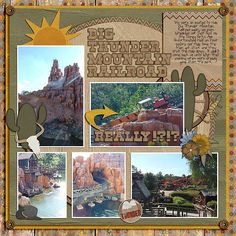 Disney scrapbook page layout idea for Big Thunder Mountain in Frontierland at Magic Kingdom