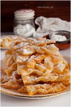 Faworki z mascarpone - I Love Bake Walnut Cookies, No Bake Desserts, Apple Pie, Waffles, Recipies, Deserts, Food And Drink, Appetizers, Cooking Recipes