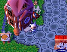 The snow has melted, revealing green grass...and a pink roof? Yikes! #animalcrossing