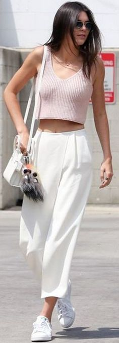 #kendalljenner #best #street #style #outfits | Kendall Jenner Pink Ribbed Crop Top + White Wide Leg Pants
