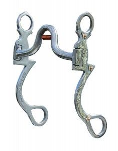 Bob Avila Seven Shank Medium Port Roller Bit. The Seven Shank design is weighted with an embellished cheek for the show arena. This bit features a medium port and