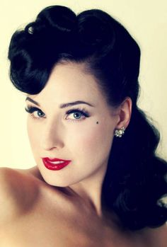 Beautiful portrait of Dita Von Teese sporting a rockabilly hairdo