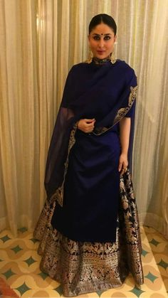 Kareena Kapoor Khan in royal blue and gold ensemble, most probably Manish Malhotra's, via @topupyourtrip