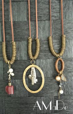 Vintage, rustic leather band necklace from AMaDe www.Facebook.com/amadeaccessories