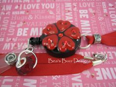 HOT HEARTS  Retractable Id Badge Reel  by BeasBuzzDesigns on Etsy, $20.00