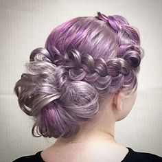 Violet and silver color melt and gorgeous dressy braided style. Artist Credit to come. hotonbeauty.com violet hair silver hair braid braids updo