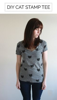 Change up a basic v-neck t-shirt with a cat pattern! This simple DIY was done with a potato stamp.