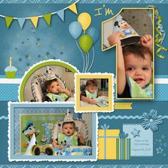 "My grandson on his first birthday. For my October Graphic Design Challenge - to have a photo show through text. TFL!  Papers and Elements from these kits: Party Boy (Lindsay Jane) and Color My World Sky (Lindsay Jane)  Fonts: Ultimate Heavy - the large #1 in the title LD Dear Miss Rose - the ""I'm"" in the title Tekton - journaling"