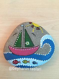 Stonepainting,taşboyama,deniz,gemi,mavi,sassidipinti,sea,mare